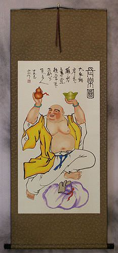 Happy Longtime Buddha<br>Asian Art Scroll