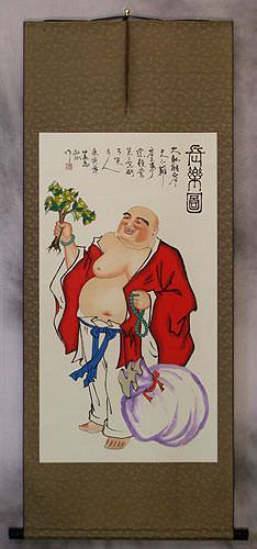 Happy Longtime Buddha<br>Asian Wall Scroll