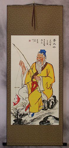 Wisdom of Old Man Fishing Wall Scroll