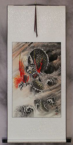 Fierce Asian Dragon<br>Chinese Wall Scroll