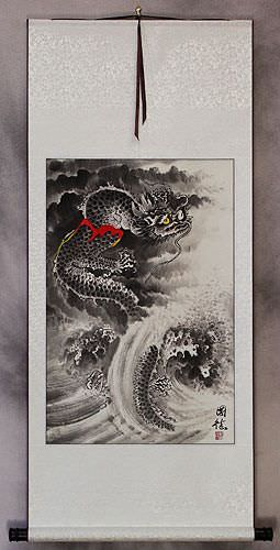 Sea Wave Dragon<br> Wall Scroll