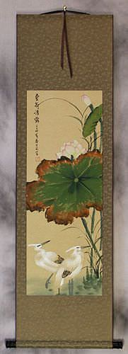 Summer Lotus Pure Dew - Egrets and Lotus Wall Scroll
