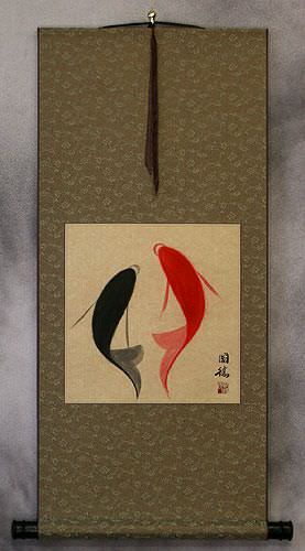 Yin Yang Fish<br>Abstract Asian Portrait Wall Scroll