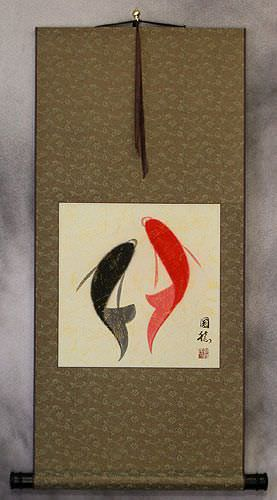 Abstract Yin Yang Fish Asian Art Wall Scroll
