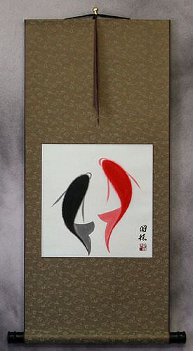 Abstract Yin Yang Fish - Chinese Wall Scroll