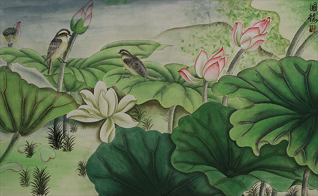 "See how ""Little Birds and Beautiful Lotus Painting"" would look after being professionally framed"