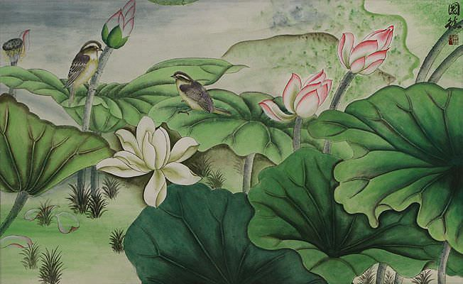 "See how ""Small Birds and Beautiful Lotus Painting"" would look after being professionally framed"