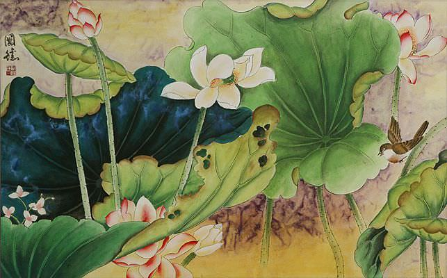 Little Bird in the Lotus Beautiful Chinese Watercolor Painting