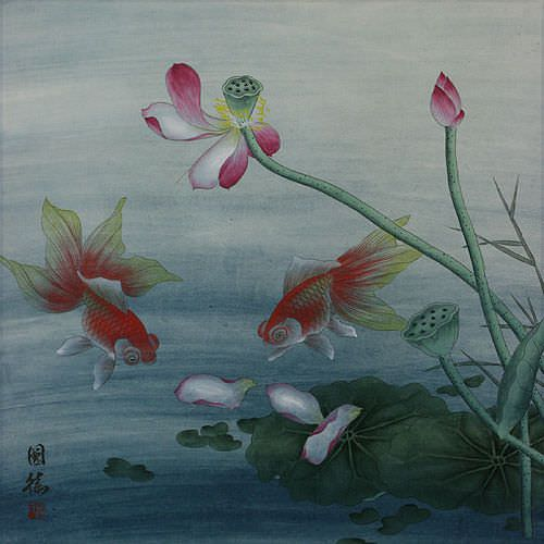 Gold Fish and Lotus Flower - Chinese Painting