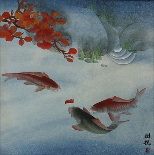 Koi Fish and Autumn Leaves - Chinese Painting