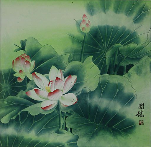 "See how ""Chinese Lotus Flower Painting"" would look after being professionally framed"