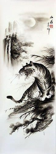 Black & White Roaring Tiger Drawing