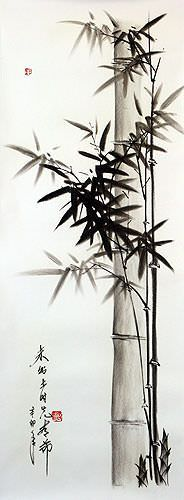 "See how ""Chinese Charcoal Bamboo Drawing"" would look after being professionally framed"