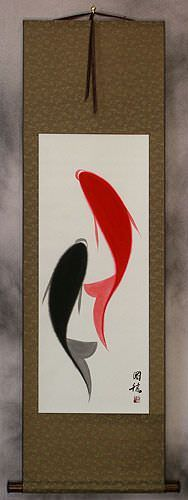 Abstract Yin Yang Fish WallScroll