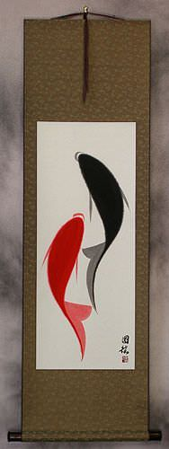 Yin Yang Abstract Fish Art Wall Scroll