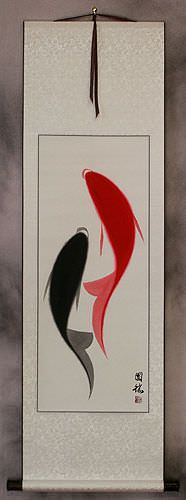 Abstract Yin Yang Koi Fish Asian Wall Scroll