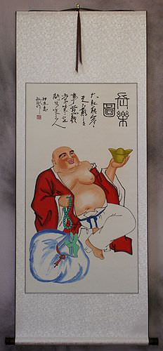 Longtime Happy Buddha<br>Chinese Wall Scroll