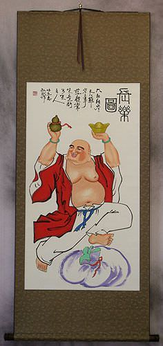 Longtime Happy Buddha<br>Buddhist Wall Scroll