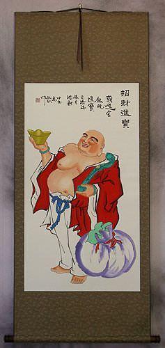 Happy Buddha Brings Treasures Chinese Wall Scroll