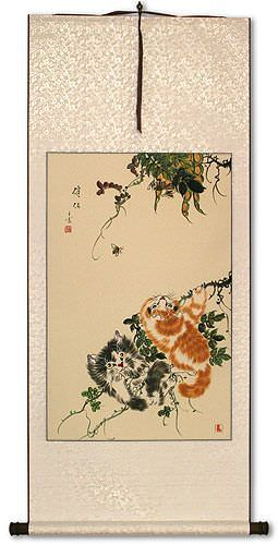 Chinese Kittens - Cat Art Wall Scroll