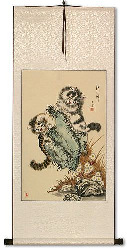 Asian Kittens<br>Chinese Cat Scroll