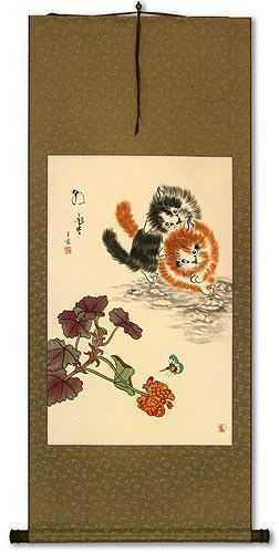 Naughty Chinese Kittens Wall Scroll