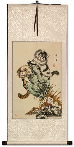 Kittens Cats - Chinese Wall Scroll