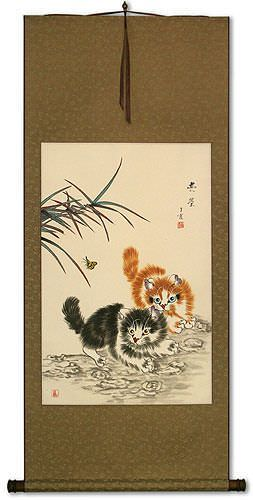 Playful Chinese Kittens Wall Scroll