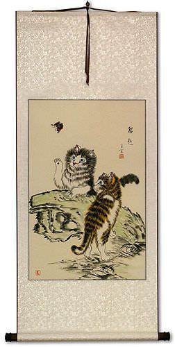 Frisky Kittens Chinese Wall Scroll