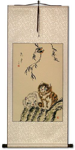 Asian Kittens<br>Oriental Wall Scroll