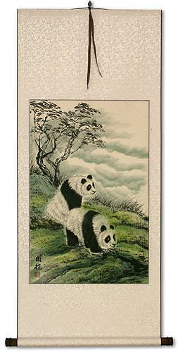 Asian Sichuan Pandas Wall Scroll