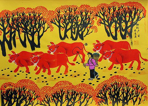 Autumn Fields - Southern Chinese Folk Art Painting