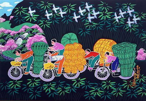 "See how ""Going to Bamboo Market - Chinese Folk Art Painting"" would look after being professionally framed"