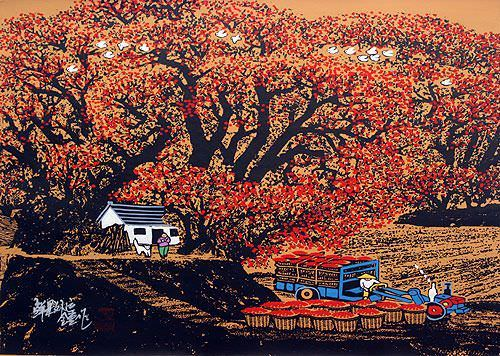 "See how ""Fruit Transporter - Chinese Folk Art Painting"" would look after being professionally framed"