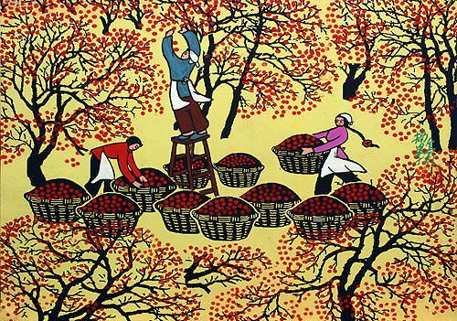 "See how ""Picking Fruit - Chinese Folk Art Painting"" would look after being professionally framed"