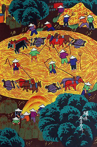 Husking Rice<br>Chinese Folk Art Painting