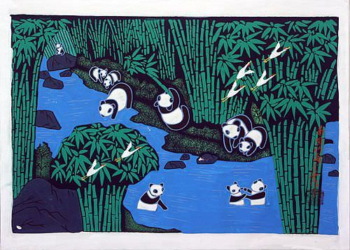 Panda Folk Art Painting