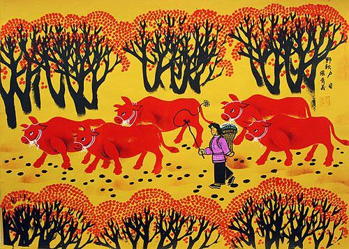 Autumn Fields - Chinese Folk Art Painting