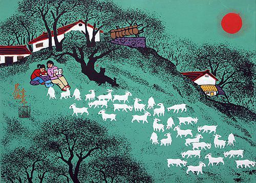 Morning Read - Huxian Chinese Folk Art