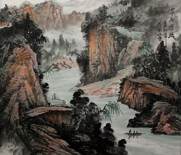 Tranquil Deep Mountains - Landscape Painting