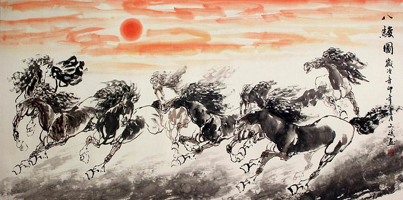 Eight Spirited Horses - Large Chinese Painting