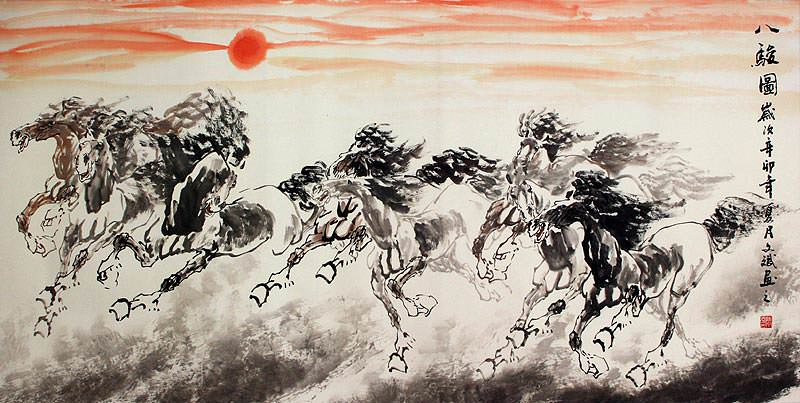 "See how ""Large Eight Chinese Horse Painting"" would look after being professionally framed"