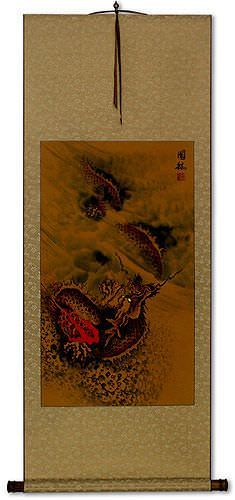 Hidden Chinese Dragon<br>Asian Wall Scroll