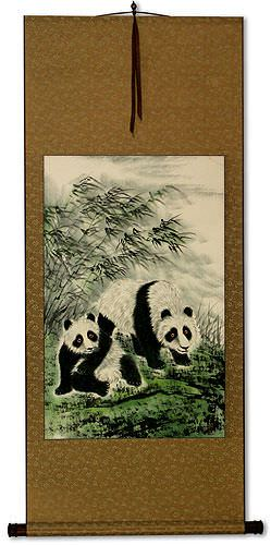 Fun-Loving Asian Pandas Wall Scroll