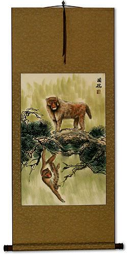Monkeys on a Branch - Asian Wall Scroll
