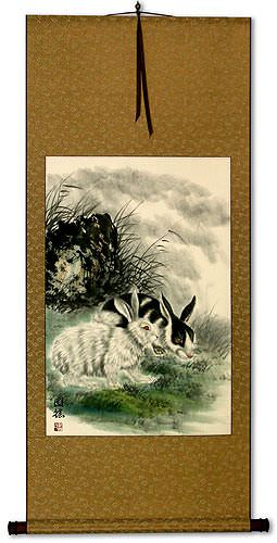 Rabbits - Asian Wall Scroll