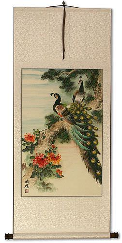 Peacocks and Chrysanthemum Flower Wall Scroll