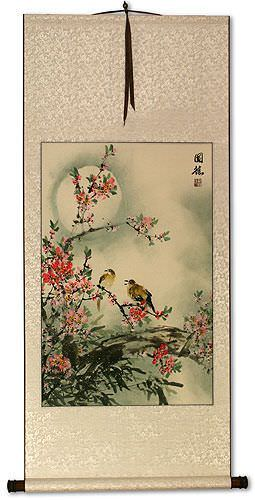 Bird & Peach Blossom - Flower Wall Scroll