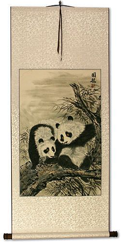 Asian Pandas Wall Scroll