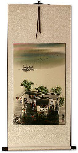 Chinese Suzhou Landscape Wall Scroll